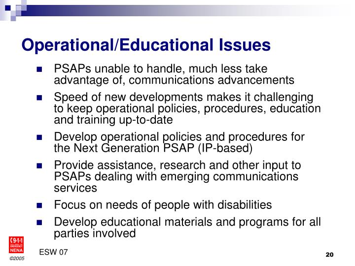 Operational/Educational Issues