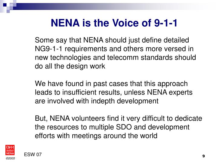 NENA is the Voice of 9-1-1