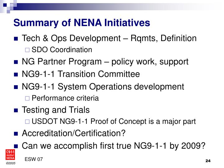 Summary of NENA Initiatives