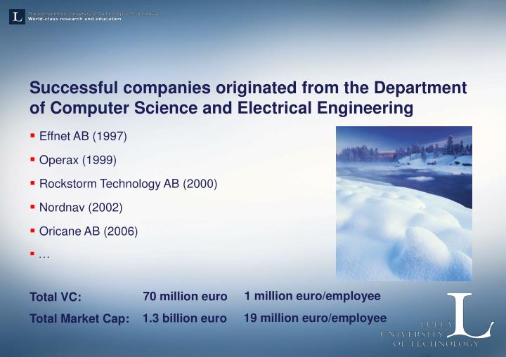 Successful companies originated from the Department of
