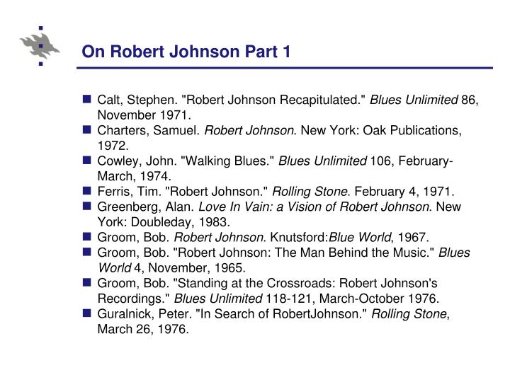 On Robert Johnson Part 1