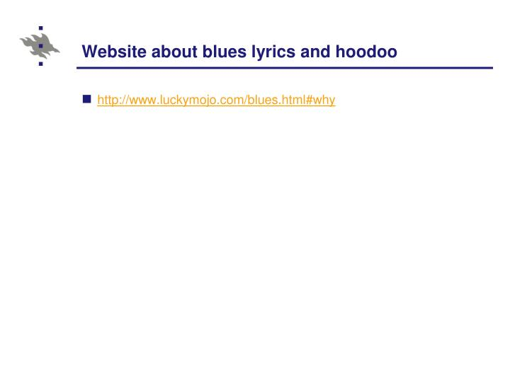 Website about blues lyrics and hoodoo