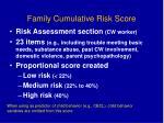family cumulative risk score