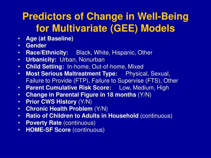 Predictors of Change in Well-Being for Multivariate (GEE) Models