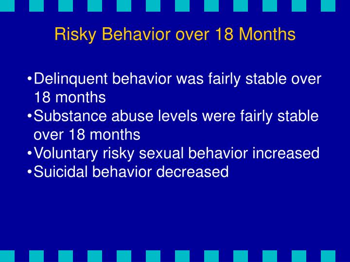 Risky Behavior over 18 Months