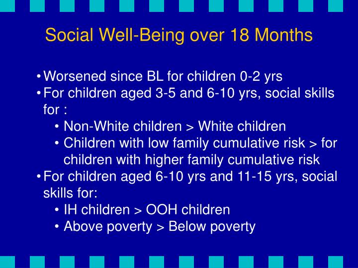 Social Well-Being over 18 Months