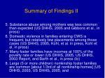 summary of findings ii