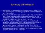 summary of findings iii