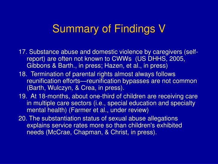 Summary of Findings V