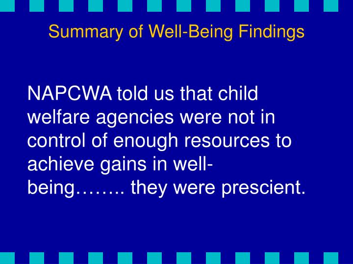 Summary of Well-Being Findings