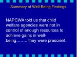 summary of well being findings