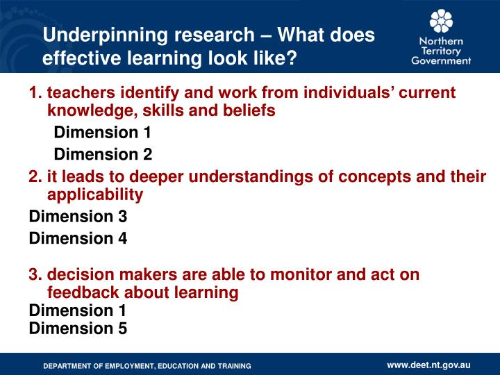 Underpinning research – What does effective learning look like?