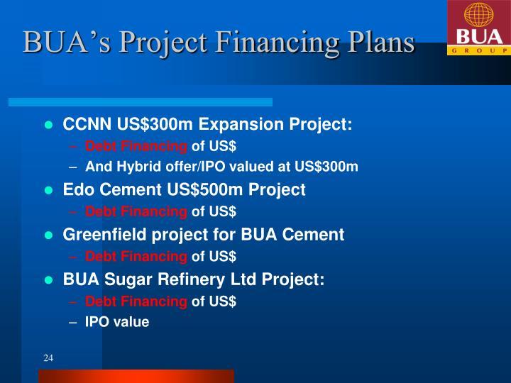 BUA's Project Financing Plans