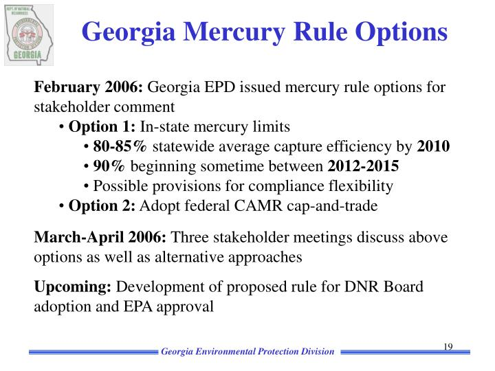 Georgia Mercury Rule Options