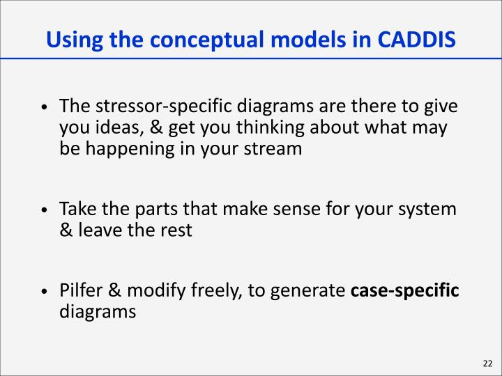 Using the conceptual models in CADDIS