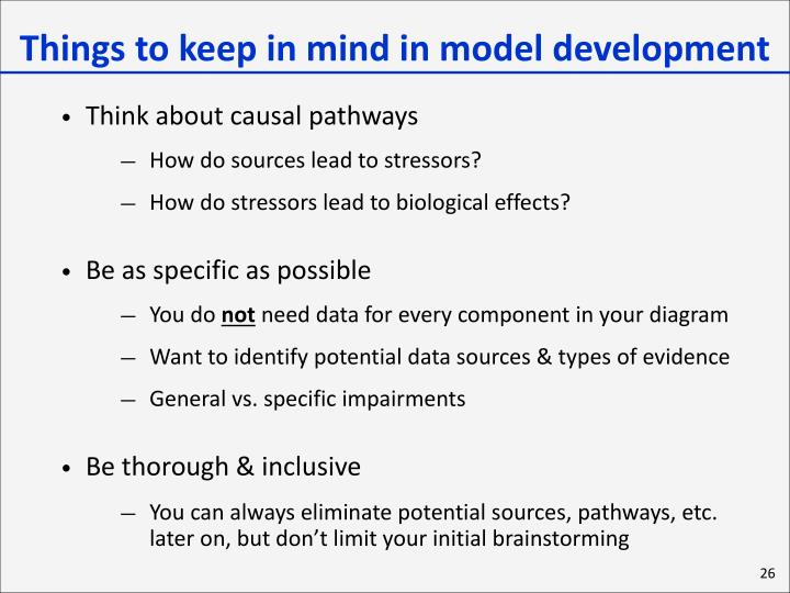 Things to keep in mind in model development