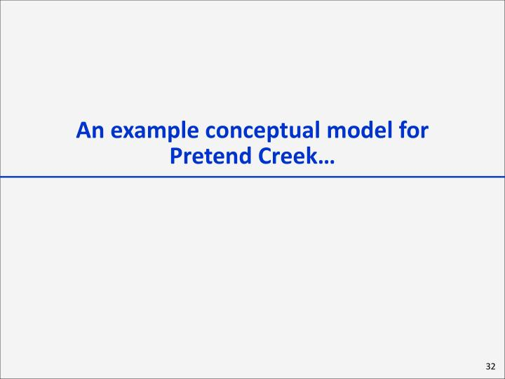 An example conceptual model for           Pretend Creek…