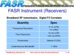 fasr instrument receivers