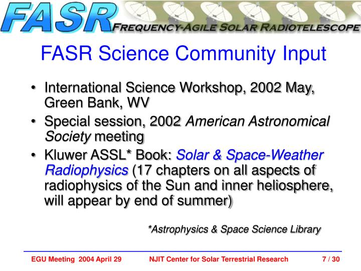 FASR Science Community Input