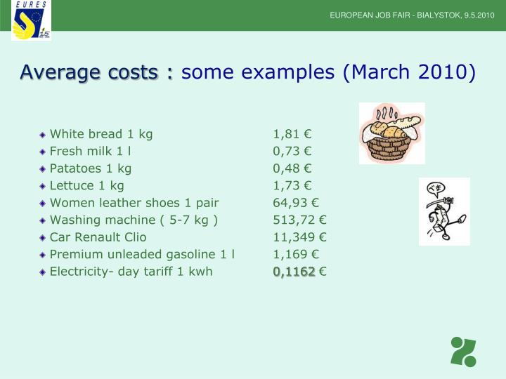 Average costs :