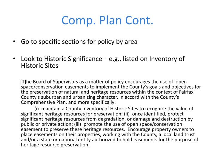 Comp. Plan Cont.