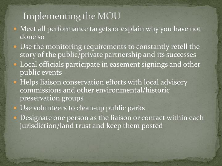 Implementing the MOU