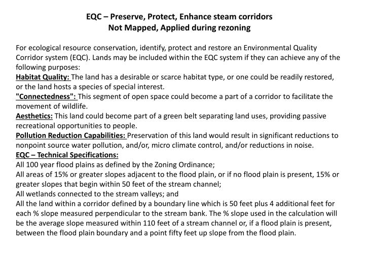 EQC – Preserve, Protect, Enhance steam corridors