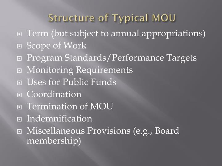 Structure of Typical MOU