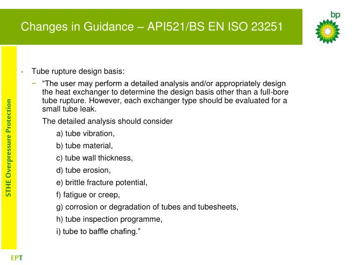 Changes in Guidance – API521/BS EN ISO 23251