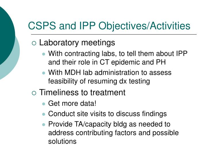 CSPS and IPP Objectives/Activities