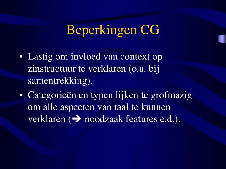 Beperkingen CG