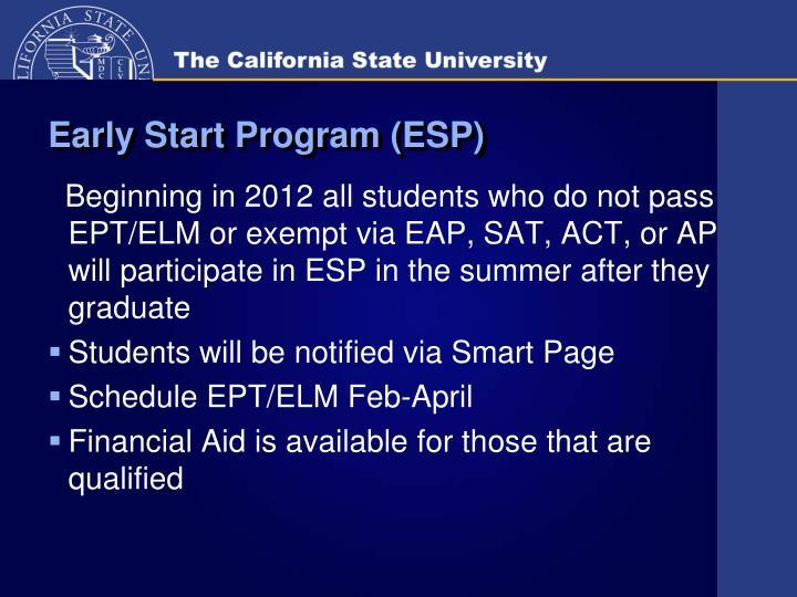 Early Start Program (ESP)
