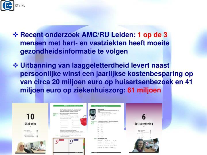 Recent onderzoek AMC/RU Leiden: