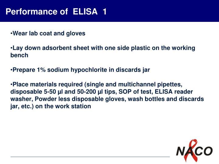 Performance of  ELISA  1