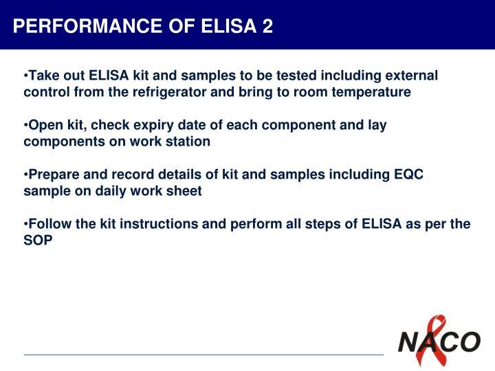 PERFORMANCE OF ELISA 2