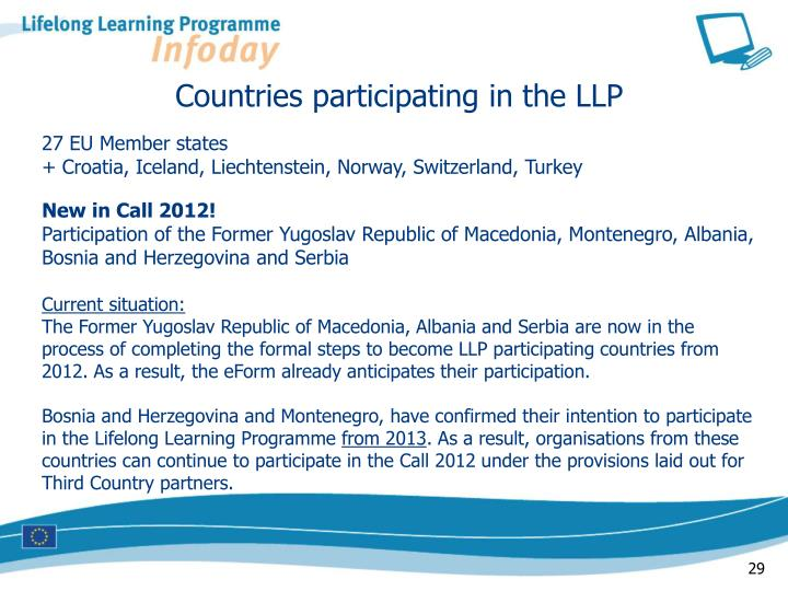 Countries participating in the LLP
