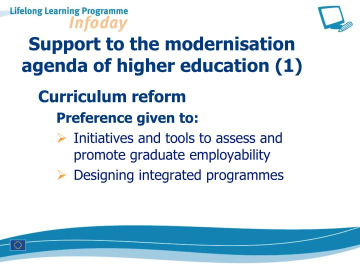 Support to the modernisation   agenda of higher education (1)