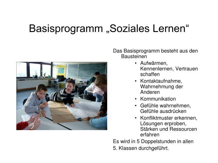 """Basisprogramm """"Soziales Lernen"""""""