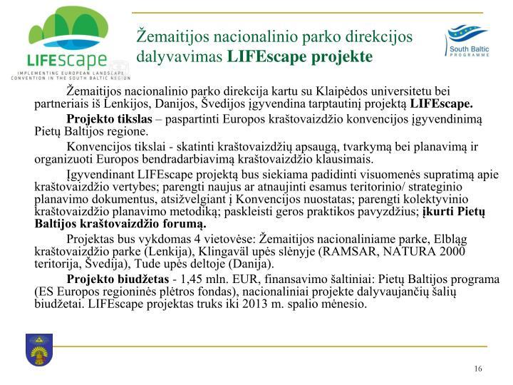 Žemaitijos nacionalinio parko direkcijos dalyvavimas