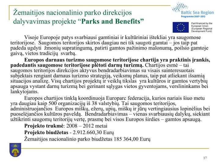 """Žemaitijos nacionalinio parko direkcijos dalyvavimas projekte """""""