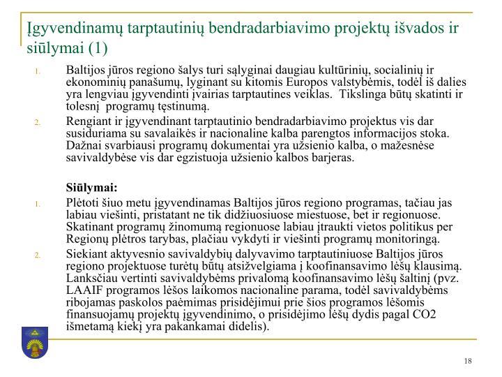Įgyvendinamų tarptautinių bendradarbiavimo projektų išvados ir siūlymai (1)