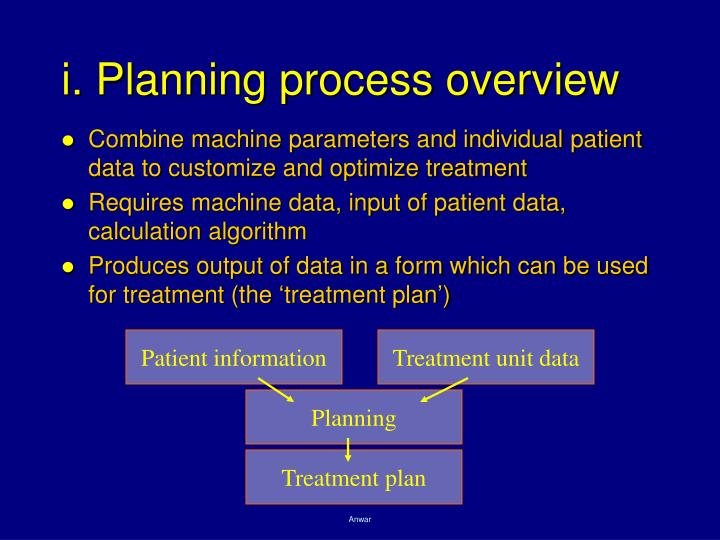 i. Planning process overview