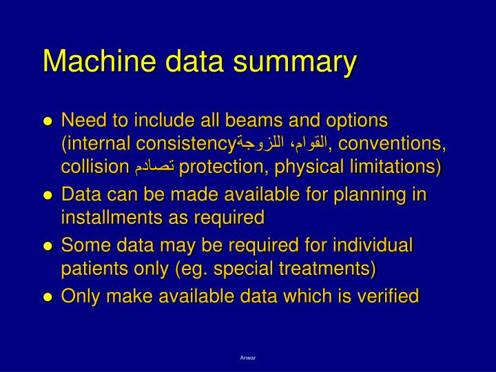 Machine data summary