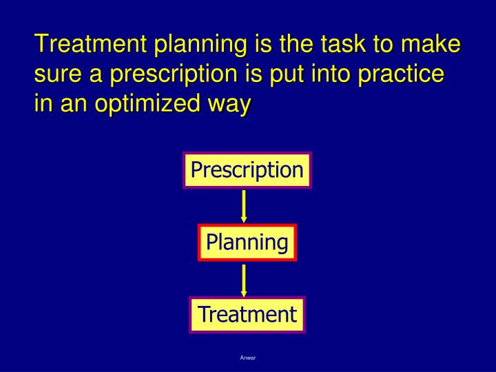 Treatment planning is the task to make sure a prescription is put into practice in an optimized way