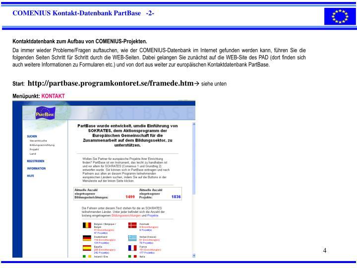 COMENIUS Kontakt-Datenbank PartBase   -2-