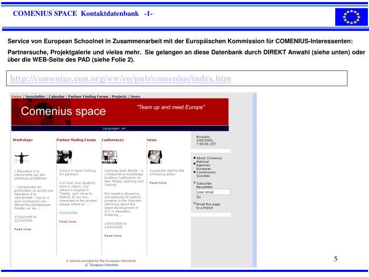 COMENIUS SPACE  Kontaktdatenbank   -1-