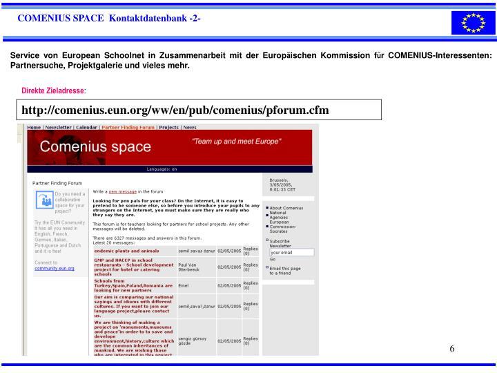 COMENIUS SPACE  Kontaktdatenbank -2-
