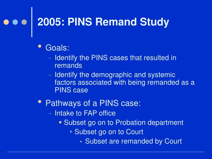 2005: PINS Remand Study