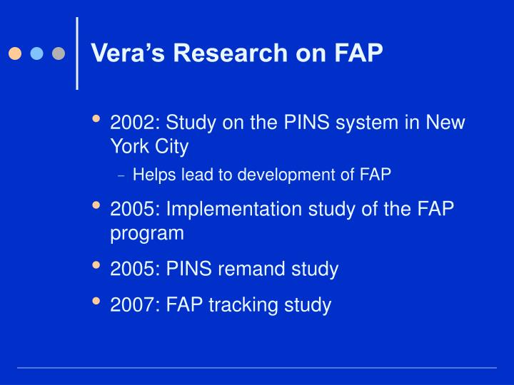 Vera's Research on FAP