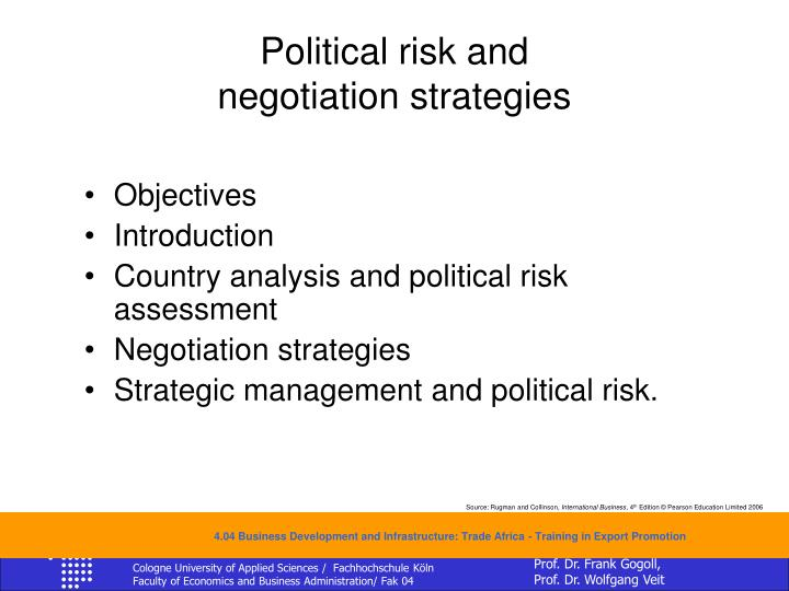 Political risk and negotiation strategies